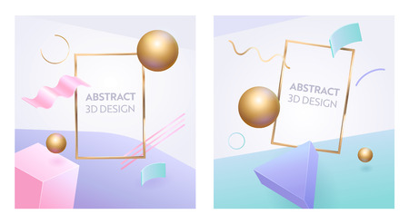 Abstract Geometric Figure Frame 3d Banner Set. Digital Graphic Sphere Shape Background for Advertising Marketing Poster. Dynamic Element Bright Pink Sign with Modern Golden Sphere Vector Illustration