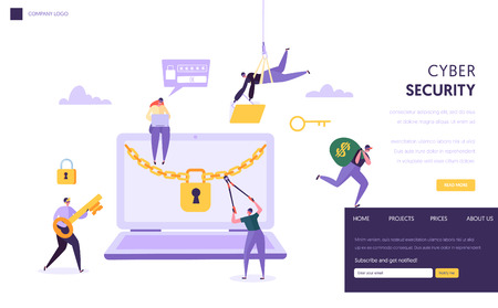 Internet Password Security Concept Landing Page. Man Steal Secure Finance Data from Laptop. Internet Hacker Attack Computer Protection Technology Website or Web Page. Flat Cartoon Vector Illustration