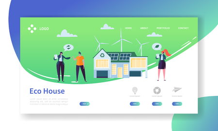 Eco Friendly Renewable Solar and Wind Energy Home Technology Landing Page. Green Electric Power House Concept with Windmill. Real Estate Apartment Website or Web Page. Flat Cartoon Vector Illustration