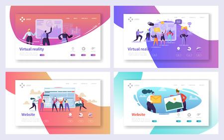 バーチャルリアリティ技術ランディングページセット。将来の興奮したユーザーキャラクターのための拡張ビジュアルゲーム。フィクションサイバースペース体験ウェブサイトまたはウェブページ。フラット漫画ベクトルイラスト