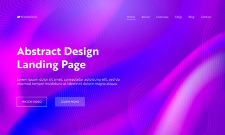 Purple Abstract Wavy Shape Landing Page Background. Futuristic Digital Motion Gradient Pattern Template. Liquid Soft Neon Wallpaper Backdrop for Website Web Page. Flat Cartoon Vector Illustration Ilustração