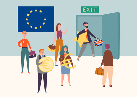 Uk Exit European Union, Brexit Symbol Concept. Man Leave Eu Take Star. Britain National Politics Referendum Agreement Result. People Hold Currency Sign Flat Cartoon Vector Illustration Vettoriali