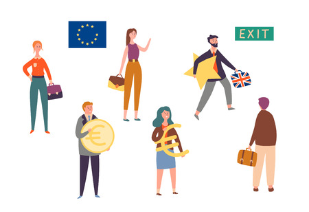 Uk Exit European Union, Brexit Concept Character Set. Man Leave Eu with Star. Britain National Politics Reform to Stop Economic Crisis. People Hold Currency Sign Flat Cartoon Vector Illustration