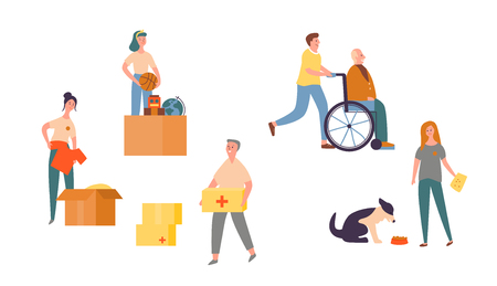 People Character Volunteer Care for Senior Set. Needy Community Help Center. Charity to Animal to Support Homeless Dog. Citizen Donate Clothes to Older in Wheelchair Flat Cartoon Vector Illustration