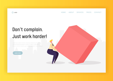 Business Hard Work Competition Concept Landing Page. Character Move Geometric Heavy Shape. Leadership Goal Effort for Career Growth Website or Web Page. Flat Cartoon Vector Illustration