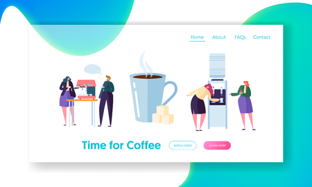 Office Coffee Break Time Landing Page Banner. Business People Character have Lunch. Employees Talking, Resting and Drinking Hot Tea Website or Web Page. Flat Cartoon Vector Illustration