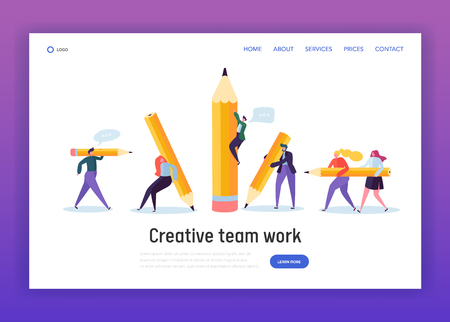 Business Creative Copywriter Teamwork Landing Page. Drawn People Holding Pencil. Blogger Work Goal. Education Job Leader Success Website or Web Page. Flat Cartoon Vector Illustration 일러스트
