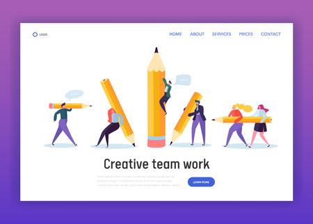 Business Creative Copywriter Teamwork Landing Page. Drawn People Holding Pencil. Blogger Work Goal. Education Job Leader Success Website or Web Page. Flat Cartoon Vector Illustration Illustration