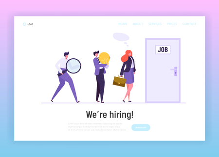 Business People Waiting Job Interview at Door Landing Page. Businessman Character Find New Career Opportunity. Work Chance Recruitment Website or Web Page. Flat Cartoon Vector Illustration