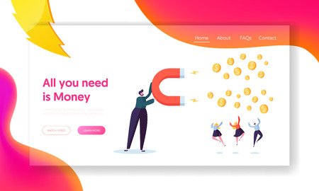 Financial Business Income Growth Concept Landing Page. Businessman Character Make Profit Money with Big Magnet. Investment Success Background Website or Web Page. Flat Cartoon Vector Illustration