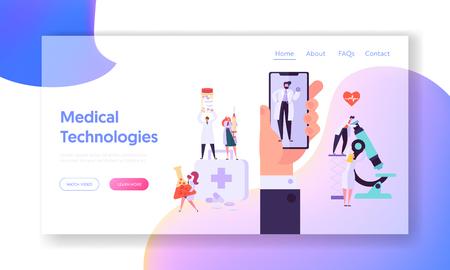 Página de inicio del concepto de equipo de medicina en línea. Aplicación de teléfono inteligente moderna para el servicio de consulta médica. Sitio web o página web de tecnología de diagnóstico hospitalario. Ilustración de vector de dibujos animados plana