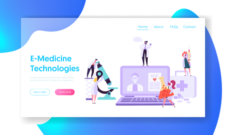 Online Healthcare Technology Concept Landing Page. Doctor Character Help Patient People with Diagnostic. Medicine Chemistry Equipment Website or Web Page. Flat Cartoon Vector Illustration