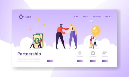 Businessmen Shaking Hands, Partnership Deal Handshake Landing Page. Meeting Agreement Concept. People Character Business Cooperation Website or Web Page. Flat Cartoon Vector Illustration