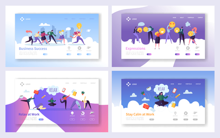 Relax at Work for Business Success Solution Landing Page Set Concept. Businessman Teamwork Social Media Communication. Concentrate on Growth Idea Website or Web Page. Flat Cartoon Vector Illustration