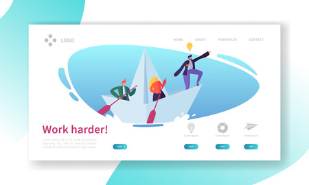 Business Leader Work in Team Landing Page Concept. Teamwork Corporate Motivation Banner for Success Marketing Development. Project Strategy Website or Web Page. Flat Cartoon Vector Illustration