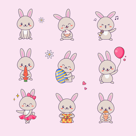 Cute Bunny Kawaii Character Sticker Set. Rabbit with Anime Face Various Emoji Drawing for Doodle. Comic Animal Love Symbol Kit for Children. Funny Pet Collection Flat Cartoon Vector Illustration
