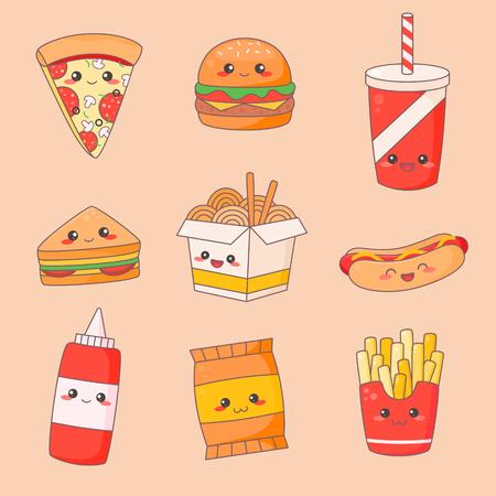 Fast Food Junk Kawaii Cute Face Set. Hamburger and Hotdog Manga Character Isolated Sticker. Restaurant Menu Icon Kit. Funny Japanese Meal Emoji Doodle Flat Cartoon Vector Illustration