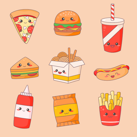 Fast Food Junk Kawaii Cute Face Set. Hamburger and Hotdog Manga Character Isolated Sticker. Restaurant Menu Icon Kit. Funny Japanese Meal Emoji Doodle Flat Cartoon Vector Illustration