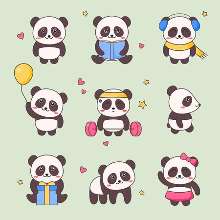 Lindo conjunto de pegatinas de personajes Panda Kawaii. Oso negro blanco con cara de anime Varios diseños de Emoji para Doodle. Kit de elementos de regalo de animales cómicos para niños. Ilustración de Vector de dibujos animados plana Kit de iconos divertidos