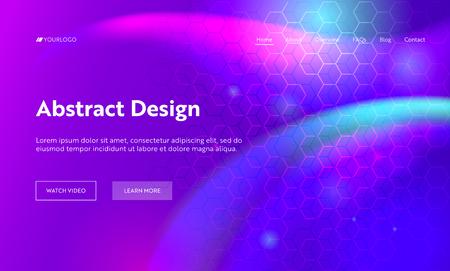 Fond de page d'atterrissage en forme d'hexagone géométrique abstrait violet. Motif de dégradé de mouvement numérique futuriste. Élément créatif de toile de fond au néon doux pour la page Web du site Web. Illustration vectorielle de dessin animé plat Vecteurs