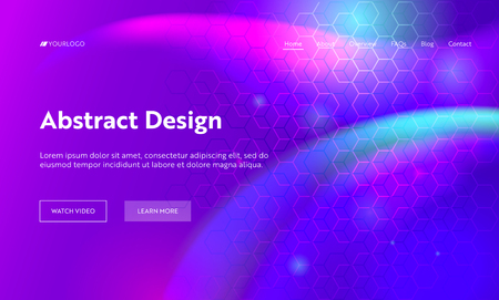Purple Abstract Geometric Hexagon Shape Landing Page Background. Futuristic Digital Motion Gradient Pattern. Creative Soft Neon Backdrop Element for Website Web Page. Flat Cartoon Vector Illustration