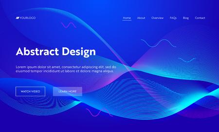 Blaue abstrakte geometrische Frequenz-Wellenform-Landing-Page-Hintergrund. Futuristisches digitales Bewegungsmuster. Creative Neon Line Hintergrundelement für Website-Webseite. Flache Cartoon-Vektor-Illustration