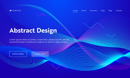 Blue Abstract Geometric Frequency Wave Shape Landing Page Background. Futuristic Digital Motion Pattern. Creative Neon Line Backdrop Element for Website Web Page. Flat Cartoon Vector Illustration Banco de Imagens - 118161122