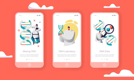 Scientist Group Explore Genome Pair in DNA Cell Mobile App Page Onboard Screen Set. Doctor Test Health Chemistry. Medical Service Website or Web Page. Flat Cartoon Vector Illustration