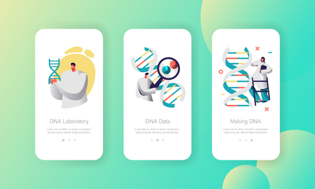 Doctor Explore Genome Pair in DNA Cell Mobile App Page Onboard Screen Set. Modern Healthcare Technology. Binary Medical Service Website or Web Page. Flat Cartoon Vector Illustration