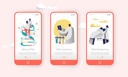 Genome DNA Experimental Lab Character Mobile App Page Onboard Screen Set. Future Healthcare Technology. Binary Pair Medical Science Service Website or Web Page. Flat Cartoon Vector Illustration