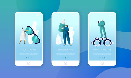 Ophthalmologist Doctor Check Eye Health Mobile App Page Onboard Screen Set. Man Oculist Character with Phone Analysis Glasses. Treatment Eyewear Website Flat Cartoon Vector Illustration