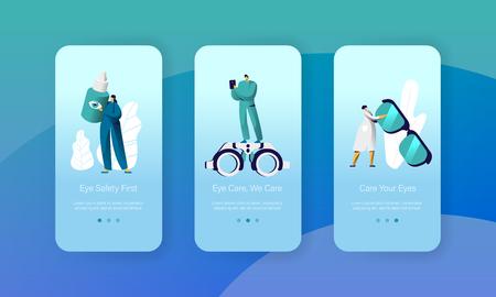 Ophthalmology Doctor Test Eyesight Mobile App Page Onboard Screen Set. Man Oculist Character with Phone Analysis Eye Health. Treatment Eyewear Focus Website Flat Cartoon Vector Illustration