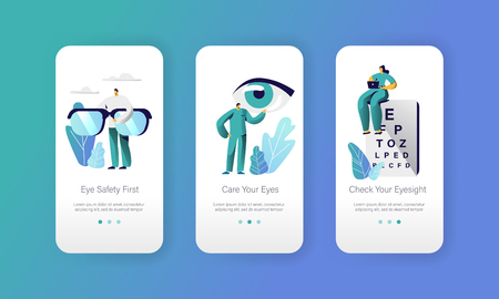 Ophthalmologist Doctor Test Eyesight on Text Chart Mobile App Page Onboard Screen Set. Professional Oculist Analysis Eye Diopter. Laser Treatment for Eye Website Flat Cartoon Vector Illustration