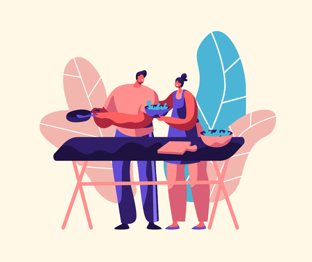 Couple Cooking Fresh Salad Outdoor. Husband and Wife Prepare Dinner Together. Man With Pan and Woman With Bowl Character Eat Vegetable. Happy Family Flat Cartoon Vector Illustration