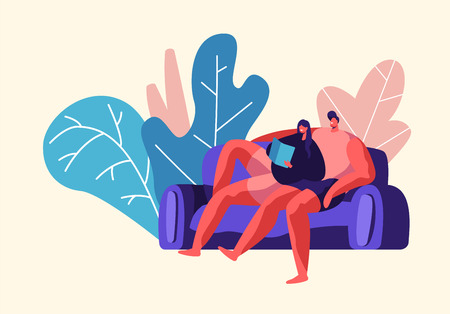Lovers Couple Relax Outdoor at Weekend. Man and Woman Sit on Comfort Sofa in City Park. Happy Pair Read Book Together. People Summer Leisure Lifestyle Flat Cartoon Vector Illustration