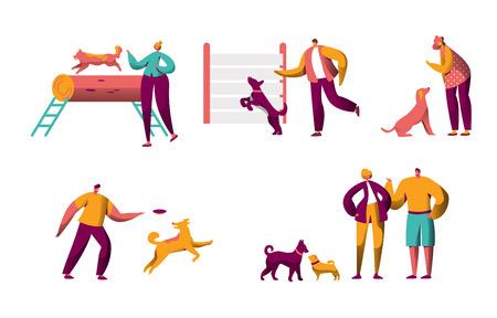 Perro de entrenamiento humano al aire libre pasar tiempo juntos. Hombre mujer sosteniendo animal doméstico. Colección Happy People Teach Pet Command. Ilustración aislada de personaje de dibujos animados plano de entrenador de paquete.