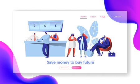 Cheerful Bank Employee and Client at Reception Desk Landing Page. Male Waiting In Line with Document. Female Character Business Discussion Website or Web Page. Flat Cartoon Vector Illustration