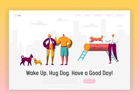 Dog and Man Spend Time Together Landing Page. Owner Training Command Different Funny Dog. Happy Man Play with Pet. Animal and People Friendship Website or Web Page. Flat Cartoon Vector Illustration