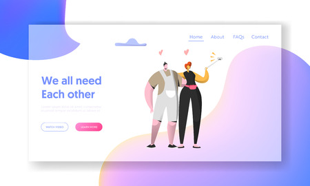 Cute Cheerful Man and Woman Take Selfie Together Landing Page. Beautiful Couple in Love on Social Networks. Lovers Meeting Character Website or Web Page. Flat Cartoon Vector Illustration 向量圖像