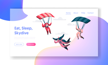 Group of Skydivers Fly Between Clouds Landing Page. Happy People Planes with Parachutes Extreme Sport Concept. Man and Woman Character in Sky Website or Web Page. Flat Cartoon Vector Illustration