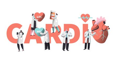 Banner de tipografía de salud del corazón de atención médica del trabajador de cardiología. Carácter del equipo para el fondo del cartel. Píldora para el tratamiento. Ayuda de emergencia Primeros auxilios o concepto de atención médica Ilustración vectorial de dibujos animados plana