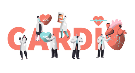 Medical Cardiology Worker Care Heart Health Typography Banner. Team Character for Poster Background. Pill for Treatment. Emergency Help First Aid or Healthcare Concept Flat Cartoon Vector Illustration Çizim