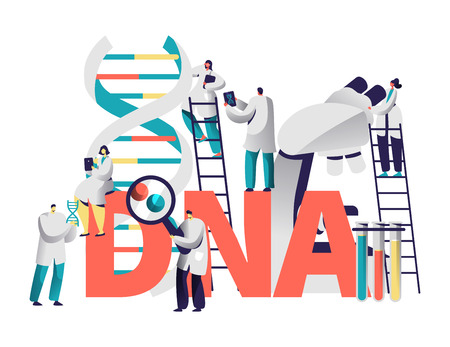 Dna Gene Medical Test Typography Banner. Scientist Team Research Genome in Chemical Laboratory. Man with Magnifier Explore Chromosome Pair Motivation Poster Flat Vector Cartoon Illustration Foto de archivo - 123179483