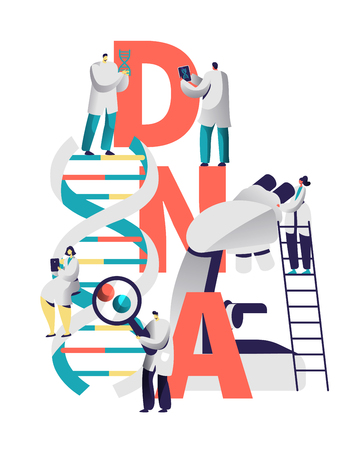 Dna Spiral Medical Equipment Typography Banner. Scientist Character Research Genome in Biology Laboratory. Man with Magnifier Explore Blood Chromosome Letter Poster Flat Vector Cartoon Illustration