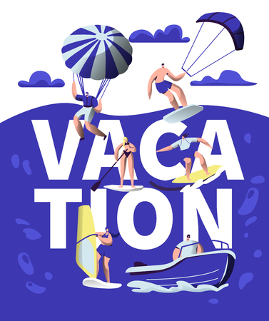 Summer Vacation Sport Adventure Typography Banner. Beach Wind Activity Equipment. Creative Watercraft Ride Motivation Poster. Sea Holiday Leisure Trip Flat Cartoon Vector Illustration