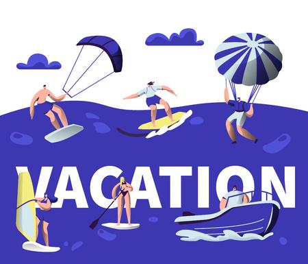 Summer Vacation Water Sport Activity Typography Banner. Tropical Ocean Beach Wind Equipment. Creative Kayaking Ride Motivation Poster. Sea Holiday Leisure Trip Flat Cartoon Vector Illustration Ilustração