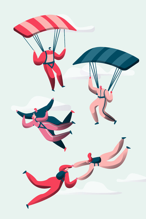 Group of Skydivers Fly Between Clouds. Happy People Planes with Parachutes. Extreme Sport and Skydiving Concept Set. Man and Woman Character in Sky. Flat Cartoon Vector Illustration Иллюстрация