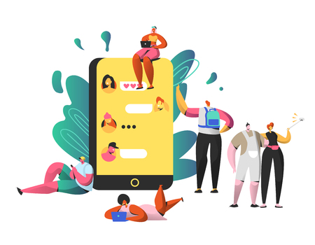 Social Networking Chat on Big Smartphone. Man and Woman Take Selfie Together. People Write Comment and Like Post. Happy Girl Character Community with Laptop Flat Cartoon Vector Illustration Çizim