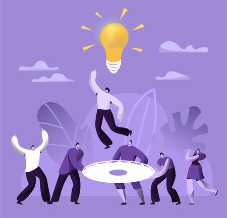 Creative Teamwork Business Success People Work Together. Financial Team Building Communication Strategy Solution. Collaboration Idea Development Concept Flat Cartoon Vector Illustration 写真素材 - 123179491