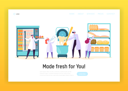 Professional Cook in Chef Uniform in Kitchen Landing Page. Male and Female Character Make Dough, Bake Bread, Muffin . Bakery Cooking Concept Website or Web Page. Flat Cartoon Vector Illustration  イラスト・ベクター素材